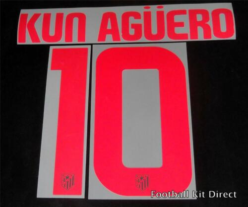 Atletico Madrid Kun Aguero 10 200910 Football Shirt NameNumber Set Away Player