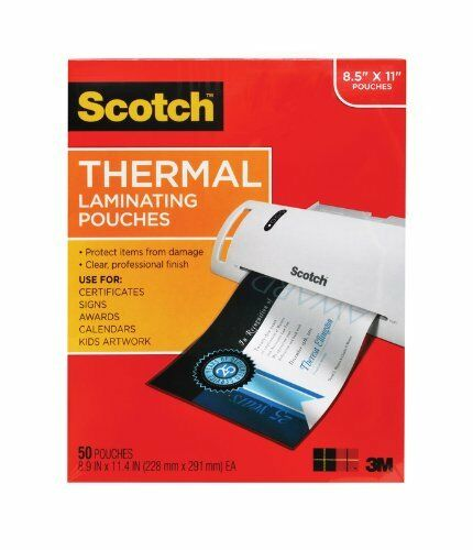 "8.50/"" Width X 11/"" Length 50 // Pack Letter Scotch Thermal Laminating Pouch"