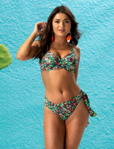 Pour Moi Heatwave Ditsy Underwired Top,Padded Strapless Top,Bikini or Fold Brief