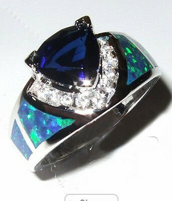Size6/7/8/9/10 Blue Sapphire & Fire Opal Silver Plated Engagement & Wedding Ring