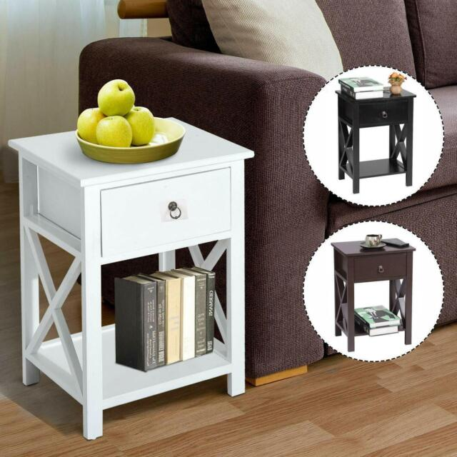 Round Handle Night Stand 2 Layer 1 Drawer Bedside End Table Bedroom Nightstand For Sale Online Ebay