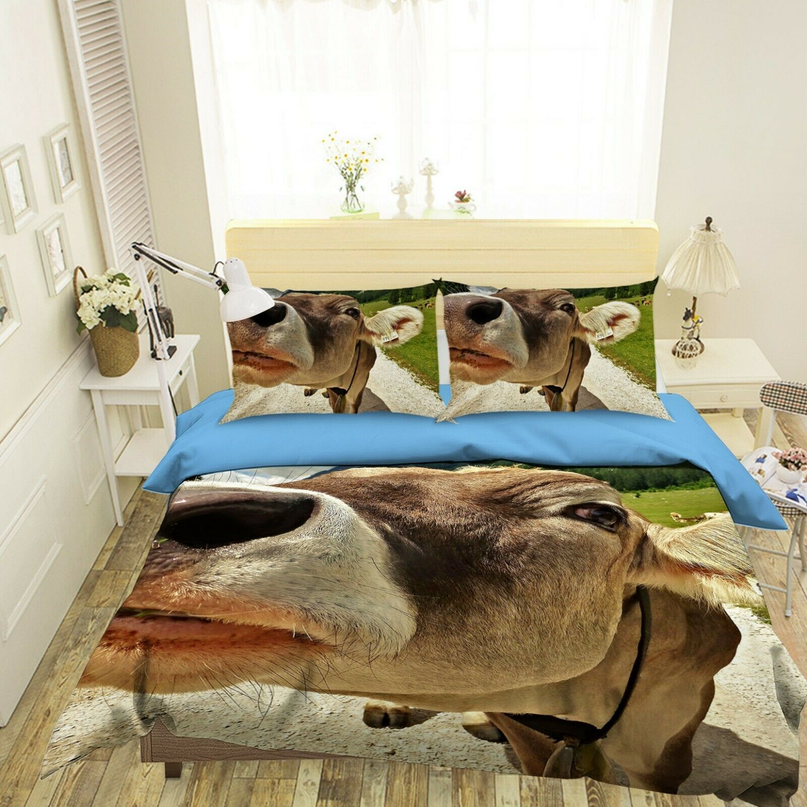 3D Cow Nose O30 Animal Bed Pillowcases Quilt Duvet Cover Set Queen King Amy