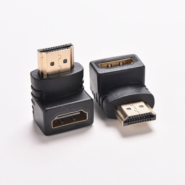 UK_2X Right Angle hdmi Cable Adapter Male to Female TV Connector 270 90 Degree T