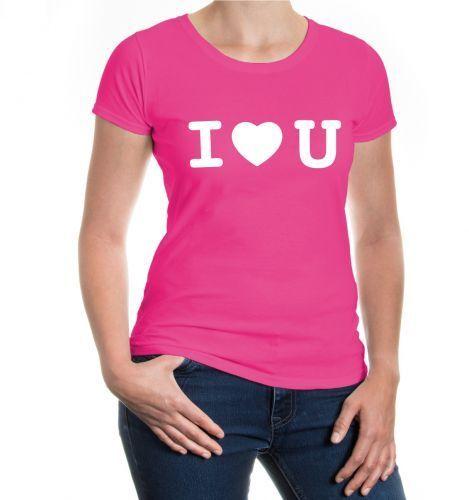 Damen Kurzarm Girlie T-Shirt I love U Valentinstag Liebe Herz Geschenk