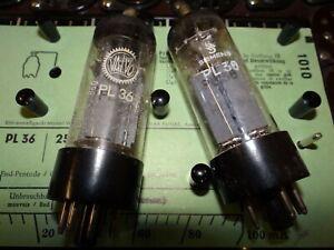 2-Roehren-Valvo-amp-Siemens-PL36-Tube-65-80-mA-Valve-auf-Funke-W19-geprueft-BL-1830