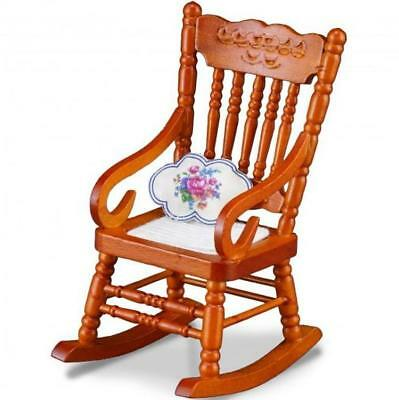 1//12 Miniature Dollhouse Wooden Rocking Chair Model White D5D7