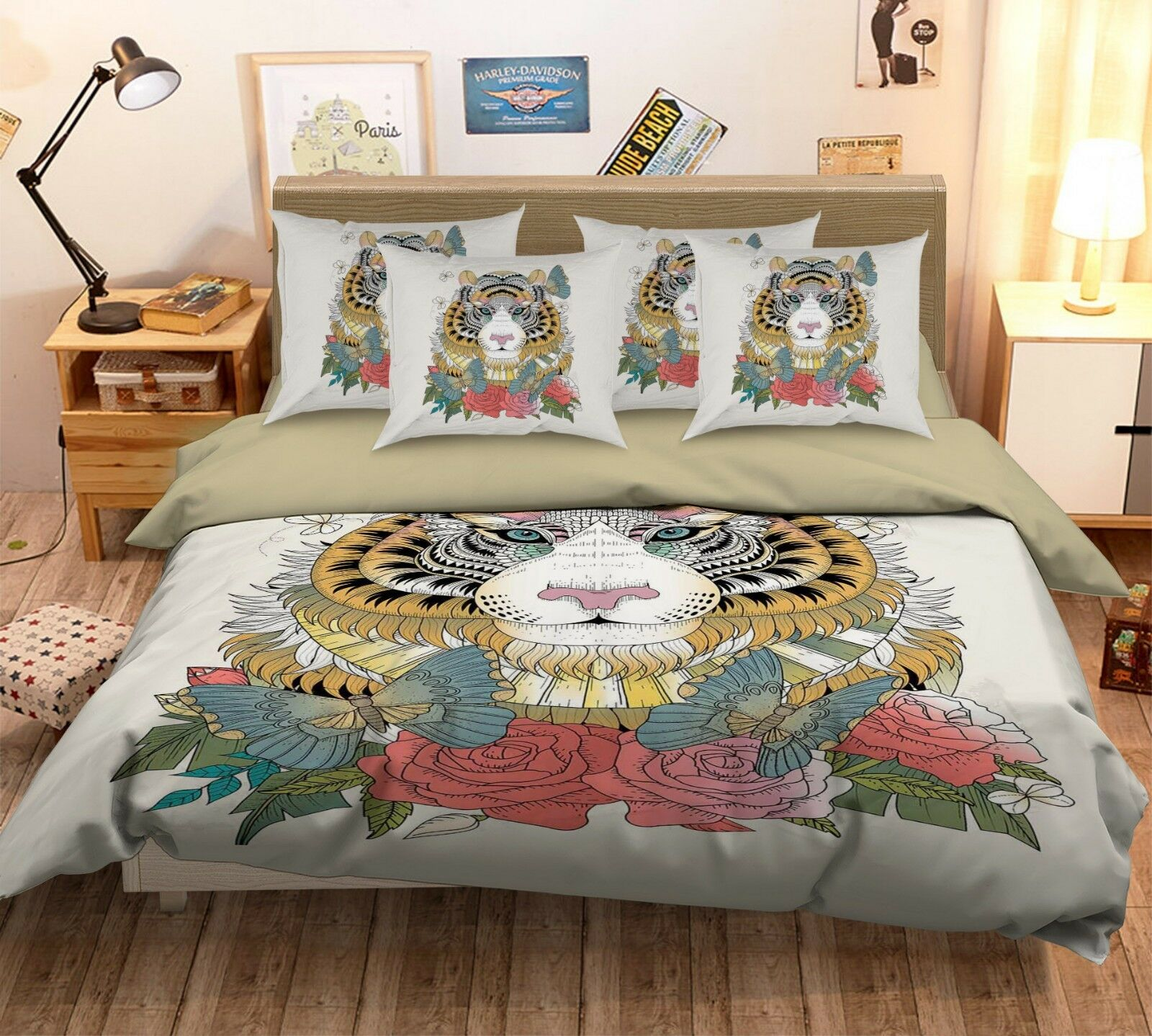 3D Tiger Painting 69 Bed Pillowcases Quilt Duvet Cover Set Single King UK Summer