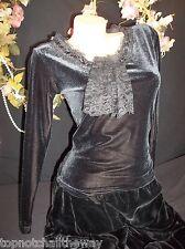 Vintage Velvet Spandex Jabot Lace Prairie Blk Blouse Hippie Victorian Shabby SM
