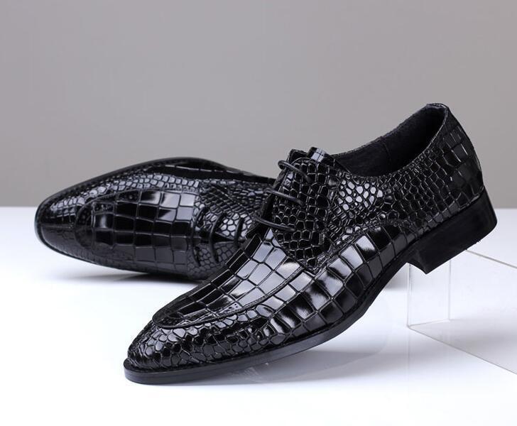 Uomo Pointy Britpop Alligator Pattern Lace Up Business Wedding Shoes Pointy Uomo Toe Dress nn 4b4652