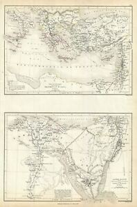 Details about 1844 Black Map of Egypt, Asia Minor and the Sinai Peninsula