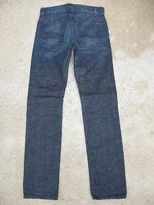 7-For-all-Mankind-Slimmy-Skinny-Jeans-Men-Sz-28-X-33-Blue-Distressed-100-Cotton