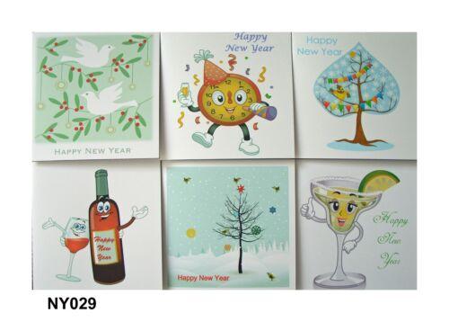 Assorted Designs Happy New Year cartes-Lot de 6 cartes