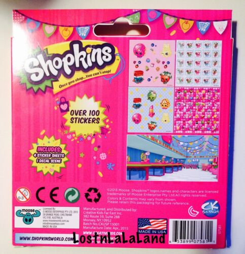 Stickers Shopkins Sticker Kit Includes 4 Sheets /& 1 Decal Scene 100