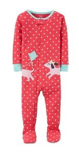 e03204e8fe0c Carter s Girl ~ Polka Dots   Dogs Long Sleeve Footed Pajamas~ NEW w ...
