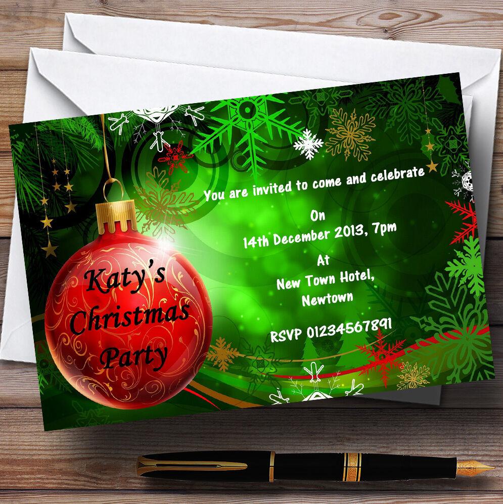 Green & Rouge  Noël invitations personnalisées fête de Noël  cc89d5