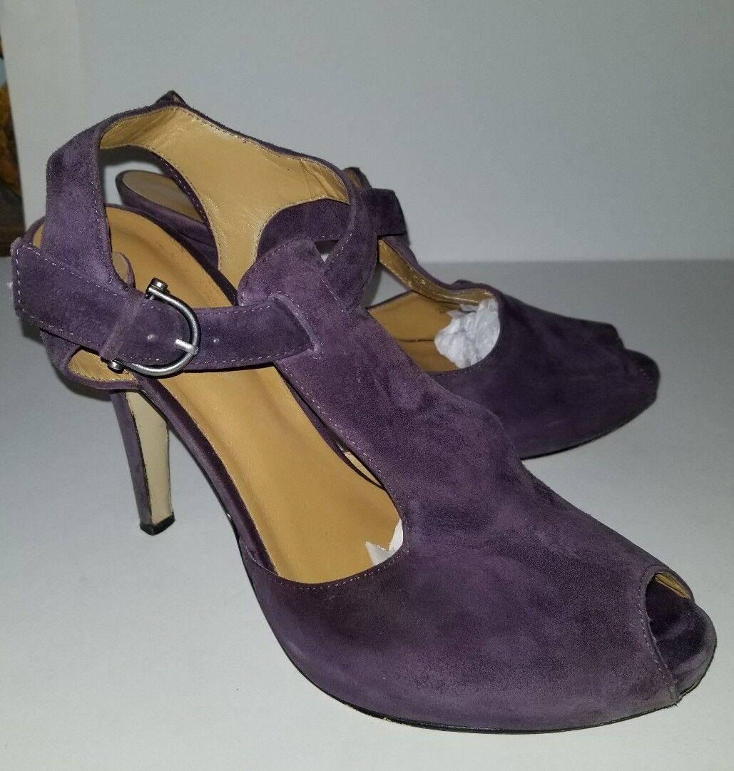 Nine West platform purple suede t-strap ankle platform West strappy heels. 9.5 bb597e