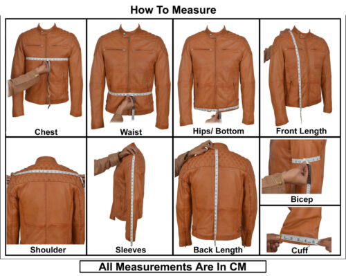 Frontier Mens  Biker Fitted Quilted Designer Style Tan Soft Napa Leather Jacket