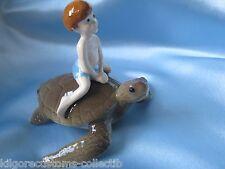 Hagen Renaker Boy on Sea Turtle 4046 Specialties Figurine Ceramic Miniature