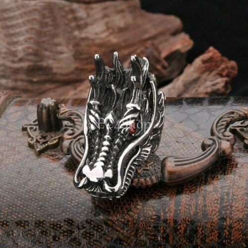 Men/'s Punk Gothic Biker Stainless Steel Dragon Head Red CZ Crystal Eye Ring Band