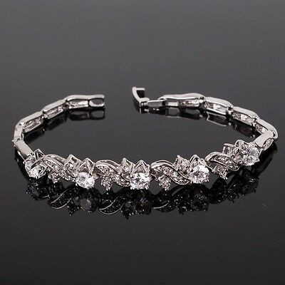 "Woman HOT charms! White sapphire 18k white gold filled FASHION bracelet 7""9.7g"