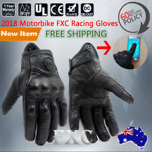 Full-Finger-Motorcycle-Horse-Riding-Racing-Cycling-Sport-Leather-Gloves-Black-XL