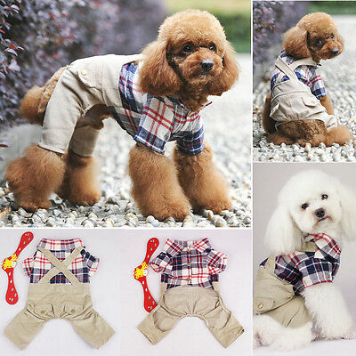 Pet Puppy Dog Cat Clothes Costume Corduroy Plaid Jumpsuit Coat Costume Apparel