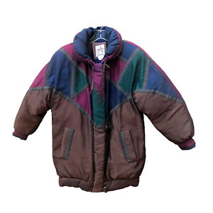 VTG 80s J.Gallery Duck Down Puffer Ski Parka Jacket Metallic Color Block Rare S