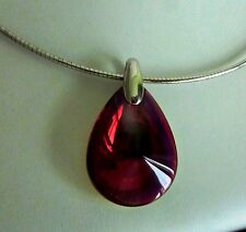 Fabulous Baccarat Psydelic Ruby Iridescent Necklace Solid Silver
