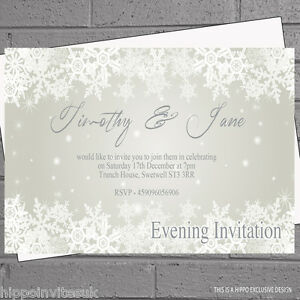 12 x snowflake any colour wedding day evening reception invites