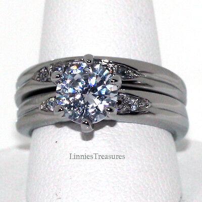 Engagement Ring Set Simple Elegant Stainless Steel 7MM CZ