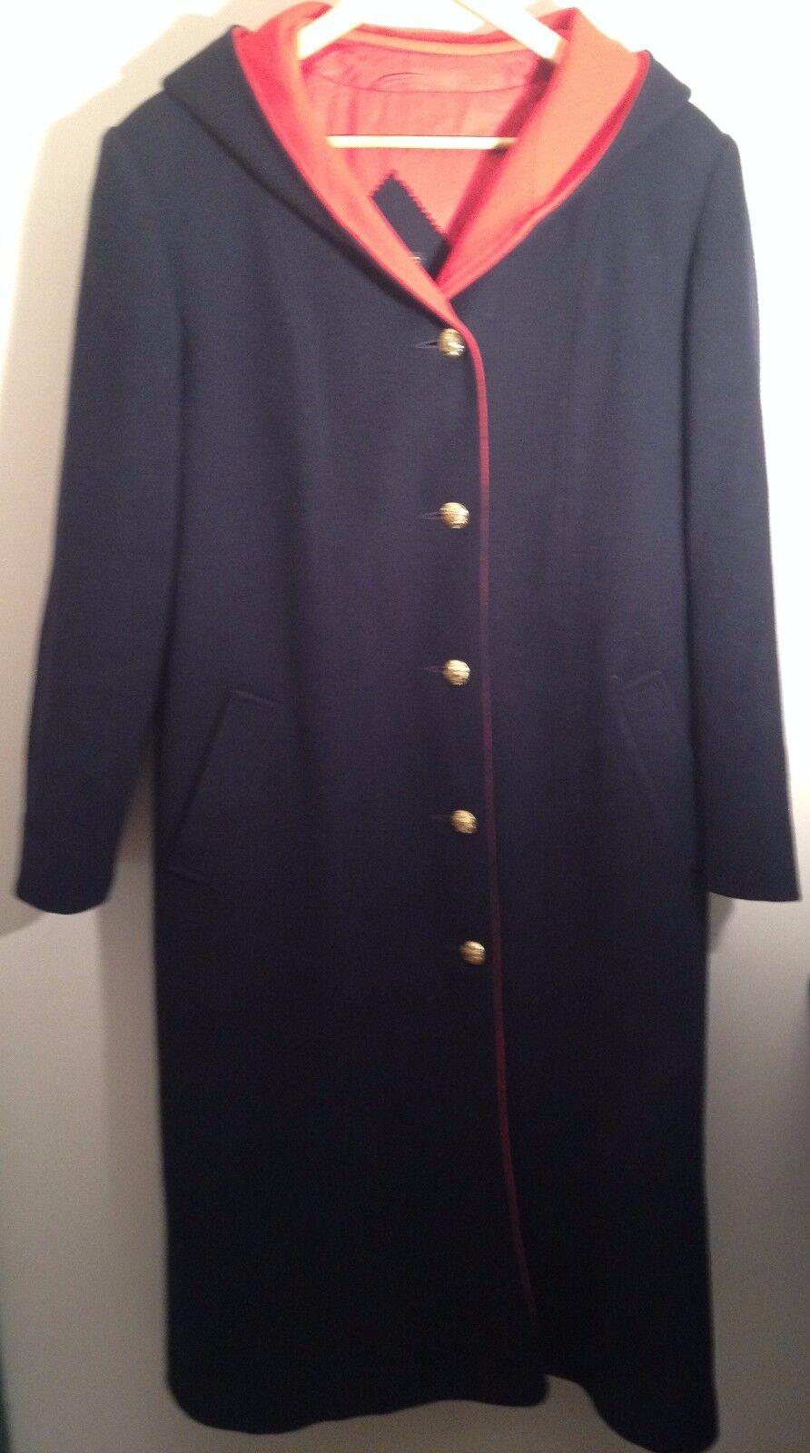 MacKintosh Abrigo vestcoat Tamaño Mediano Vintage con capucha  de lana larga rojo azul marino  mejor calidad