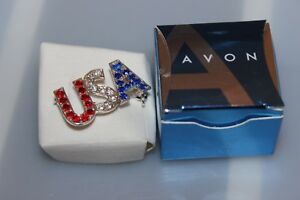 Avon-USA-PIN-Red-White-amp-Blue-Patriotic-Brooch-New-in-Box