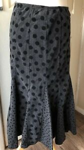Per-Una-Pin-Cord-Grey-Black-Poka-Dot-Maxi-Skirt-Uk-10