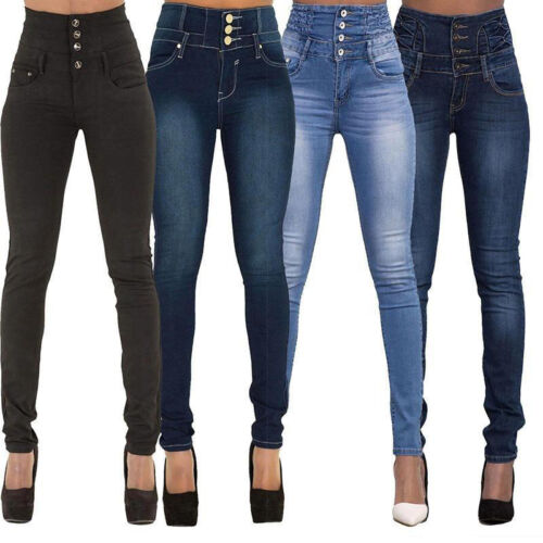Ladies Stylish High Waist Slim Skinny Jeans Stretch Pencil Denim Pants Trousers