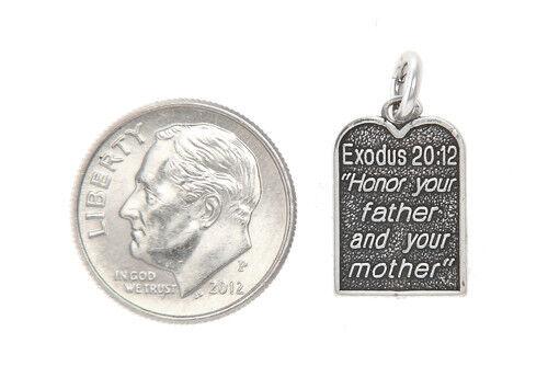 STERLING SILVER EXODUS 20:12 TEN COMMANDMENT CHARM or PENDANT