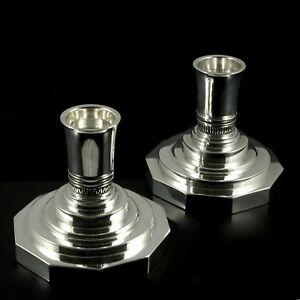 Image Is Loading Georg Jensen A Pair Of Sterling Silver Candlesticks