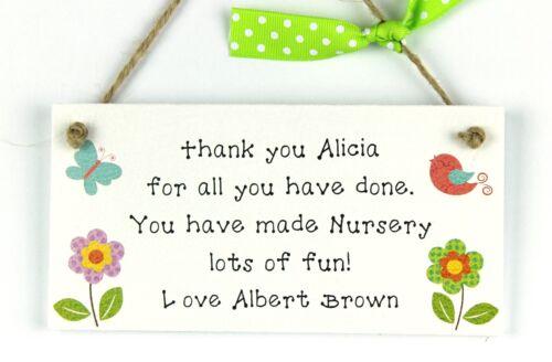 Merci de pépinière Professeur Cadeau Personnalisé Plaque gardienne Preschool laissant