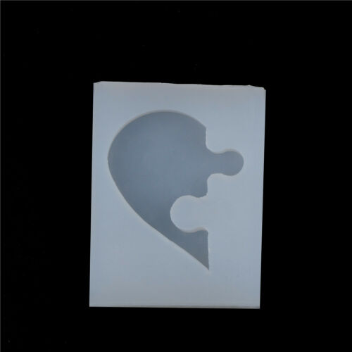 2X Puzzle Heart Shape Silicones Mold Castings LoveMould For DIY Jewelry Pendants