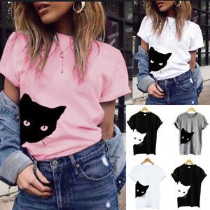 Women-Ladies-Cat-Printed-Short-Sleeve-T-Shirt-Tops-Summer-Loose-Casual-Top-Tee