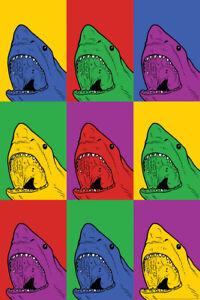 Shark Pop Art Poster 12x18 inch