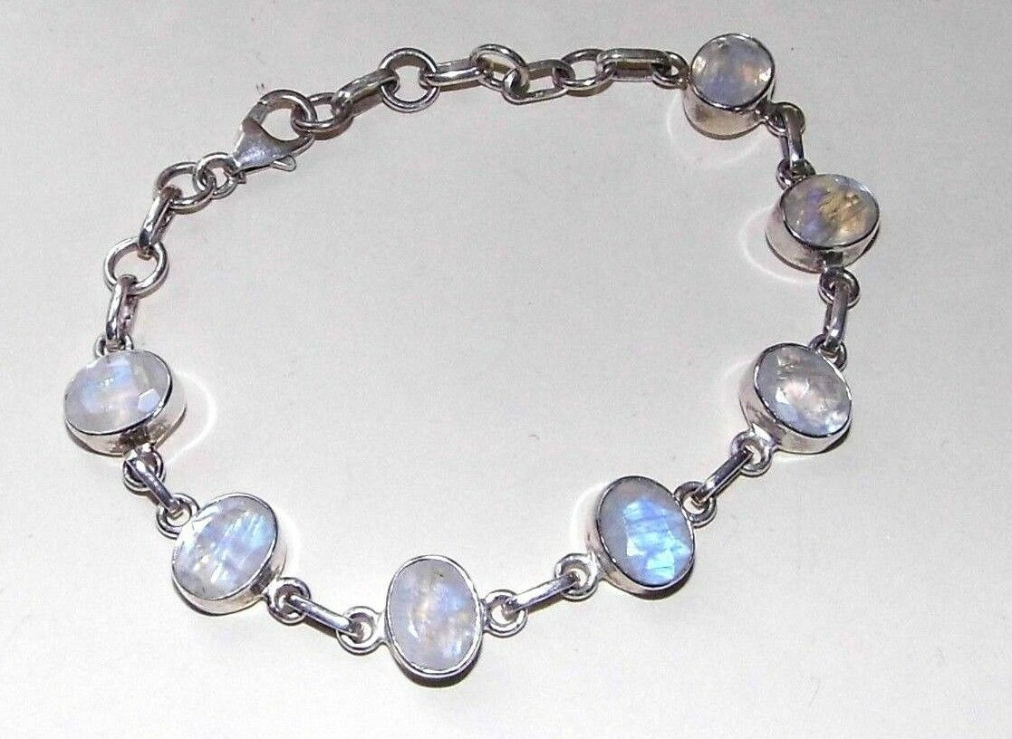 Rainbow Moonstone Moonstone Moonstone Bracciale Moonstone OVALE 925 argentoo Sterling Segno Zodiacale Cancro 47b302