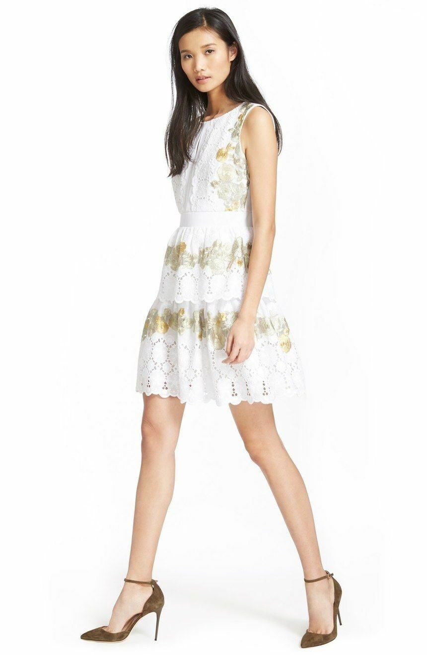 DVF Diane von Furstenberg Calandra Embroidered Fit & Flare Dress NWT 8 White