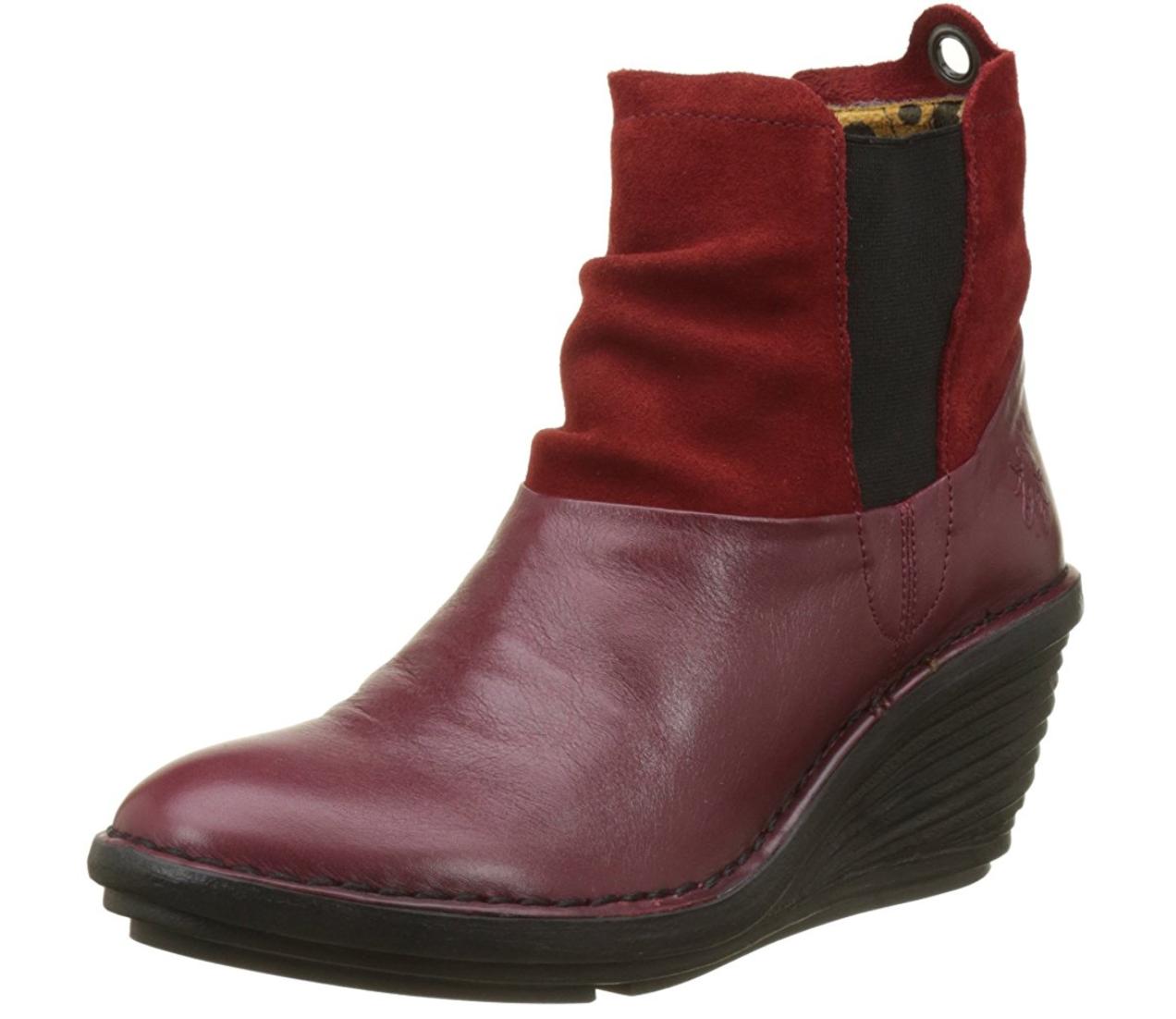 Fly London SULA  Cordoba RED Womens Boots Heel Wedge US 11-11.5 EU 42