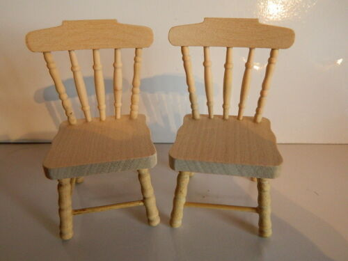 HP17 1//12th scale DOLLS HOUSE PAIR OF BAREWOOD KITCHEN CHAIRS