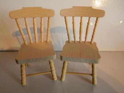 HP17 échelle 1//12th Maison De Poupées Paire De barewood Chaises de cuisine