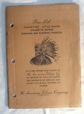 Vintage 75 Year Old AMERICAN TOBACCO CO 16 Page Retail Price Booklet List >NICE