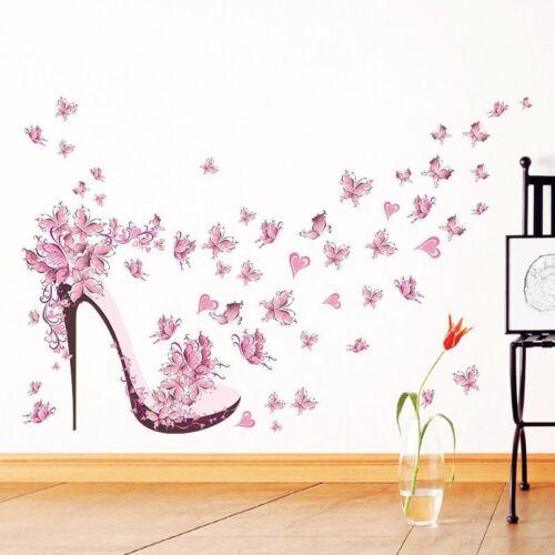 Wandtattoo Wandsticker Frau Schuhe rosa  Mädchen Herz Schmetterling Dekor#112-1