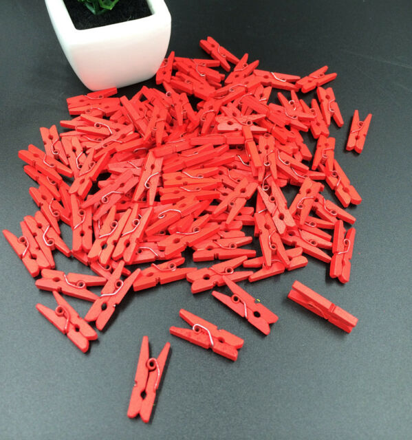 20-100pcs Mini Multicolor Wooden Clothe Photo Paper Peg Clothespin Craft Clips
