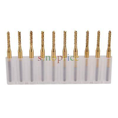 "10pcs 1.5mm Cutting Shank 1//8/"" End Mill CNC PCB Engraving Bit Titanium Coating"