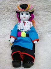 Beautiful Porcelain Tribal-Like Doll, Made in Chiang Mai Thailand, Collectible